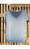 T-Shirt med sølvkant - Blå