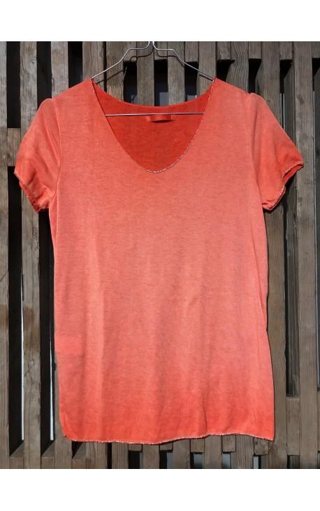 T-Shirt med sølvkant - Orange