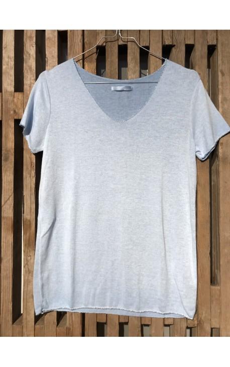 T-Shirt med sølvkant - Lyseblå